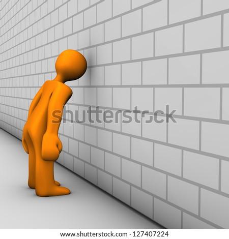 Orange cartoon characters shows regret. White wall. - stock photo
