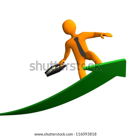 Orange cartoon characters with black case and tie, surfs on the green arrow, white background. - stock photo