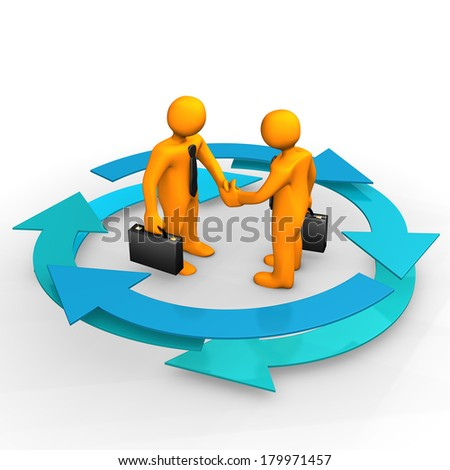 Orange cartoon characters with handshake and blue cycle arrows. White background.