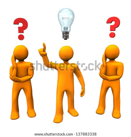 Orange cartoon characters with red question marks and a bulb. - stock photo