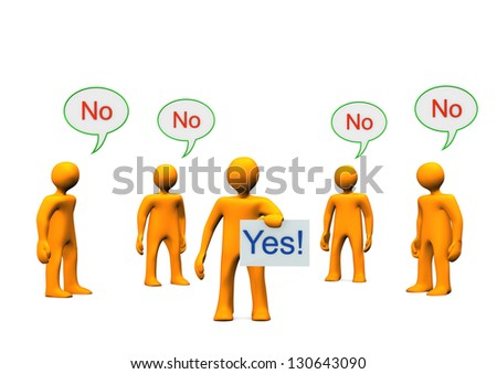 """Orange cartoon characters with text """"yes"""" and """"no"""". - stock photo"""