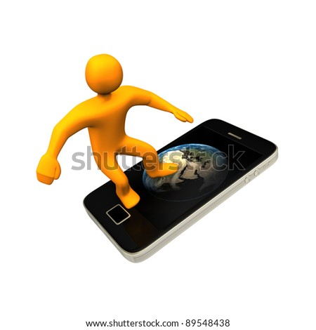 Orange cartoon surfing in internet with the smartphone. - stock photo
