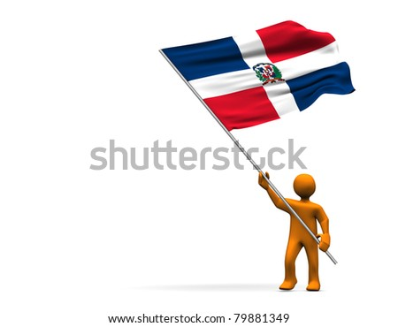Orange cartoon with a big flag of Dominican Republic, isolated on white.