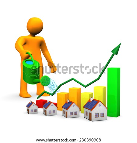 Orange cartoon with watering can, houses and colorful chart. - stock photo