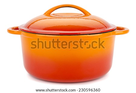 Orange cast iron cooking pot isolated on white background. - stock photo
