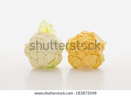 Orange cauliflower isolated on white background - stock photo