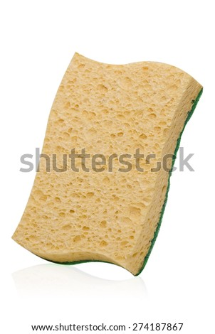 orange cellulose sponge with abrasive for cleaning kitchen