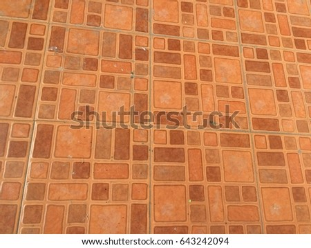 Orange ceramic block floor texture pattern background