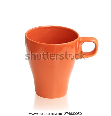 Orange ceramic cup isolated on a white background.This has clipping path. - stock photo