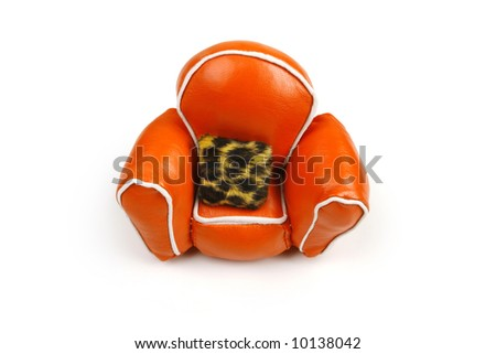 orange chair on white, fur cushion
