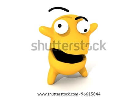 orange character pop eyes - stock photo