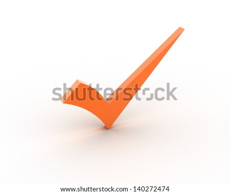 Orange checkmark - stock photo