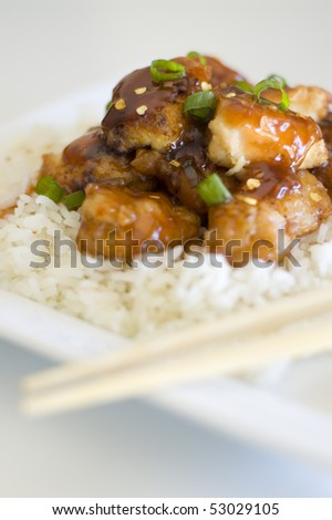 Orange Chicken and White Rice - stock photo