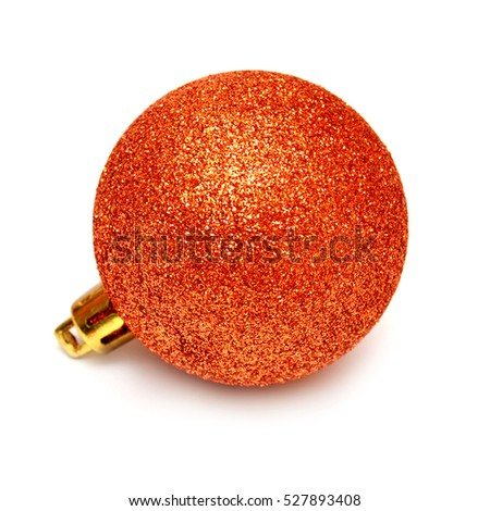 Orange christmas ball isolated on white background. Flat lay, top view. Creative