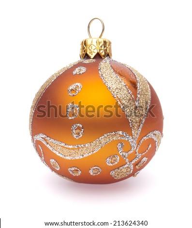 orange christmas ball on white background - stock photo