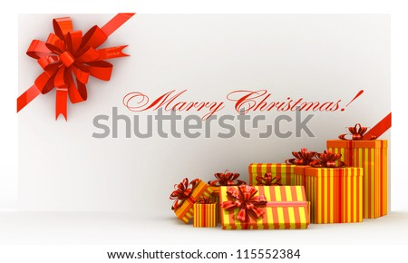 Orange christmas postal, envelope with gifts and bow on white - stock photo