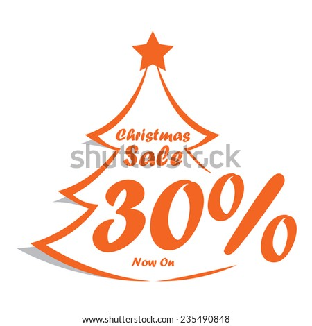 Orange Christmas tree with sale 30% now on text icon, tag, label, sign, sticker isolated on white  - stock photo