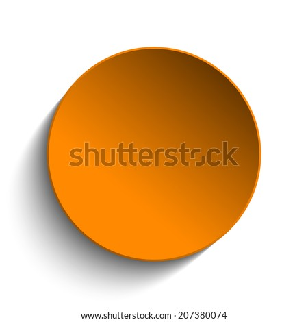 Orange  Circle Button on White Background - stock photo