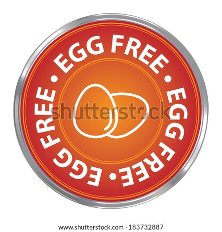 Orange Circle Egg Free Icon, Sticker or Label For Livestock, Restaurant, Food, Health or Dietary Business Isolated on White Background