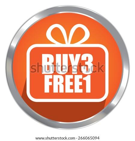 Orange Circle Metallic Buy3 Free1 Label, Sticker, Banner, Sign or Icon Isolated on White Background - stock photo