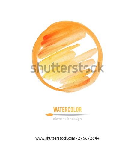 orange circle, watercolor element for design - stock photo