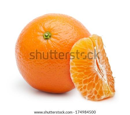 Orange citrus fruit, tangerine isolated on white background. - stock photo