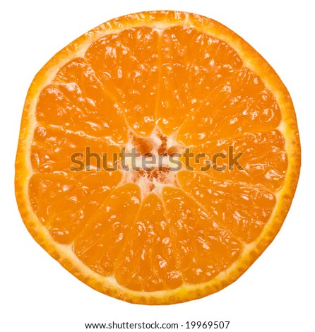 orange citrus tangerine slice isolated on white