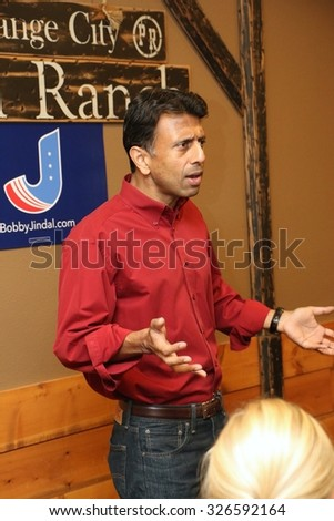 ORANGE CITY, IOWA - OCTOBER 9, 2015: Presidential candidate, Bobby Jindal, speaks to the public at a campaign stop in Iowa.  Jindal is currently the governor of Louisiana. - stock photo