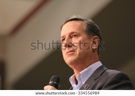 ORANGE CITY, IOWA - OCTOBER 30, 2015: Presidential Candidate, Rick Santorum, addresses the crowd at a Republican political rally.  Santorum is the former senator of Pennsylvania. - stock photo