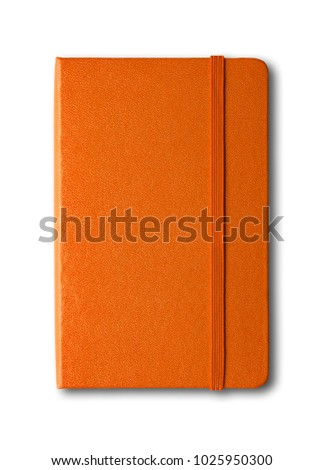 Orange closed notebook mockup isolated on white