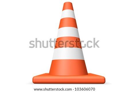 Orange closeup Traffic cone on a white background - stock photo