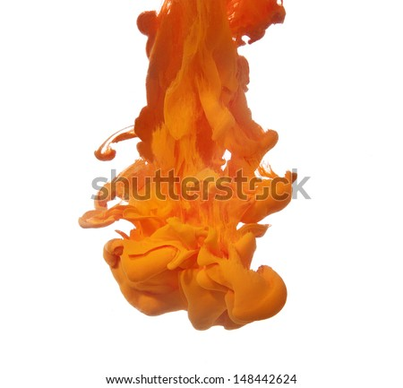 Orange cloud of ink isolated on white - stock photo