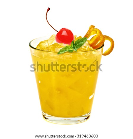Orange cocktail isolated on white background  - stock photo