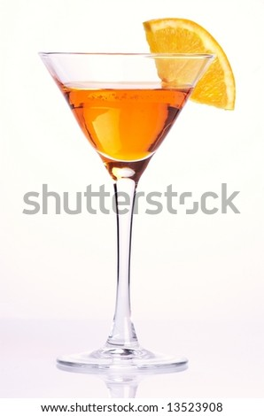 Orange cocktail on white background - stock photo
