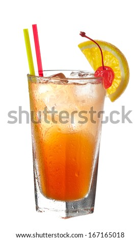 Orange cocktail with straws decorated with slice of orange and cherry isolated on white background - stock photo