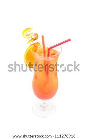 Orange cocktail with two tubes, peach, and orange decorated with dollar sign