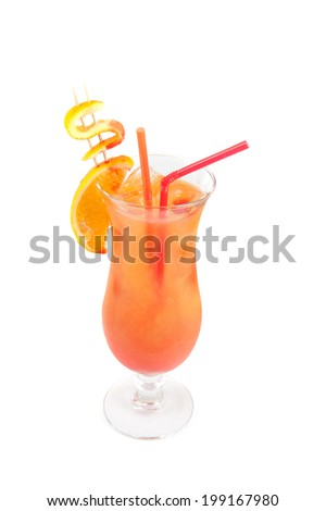 Orange cocktail with two tubes, peach, and orange decorated with dollar sign - stock photo