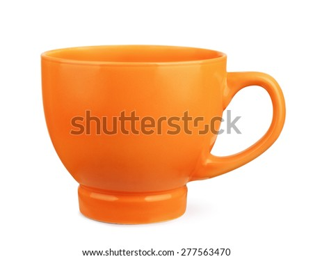 Orange coffee cup isolated on white - stock photo