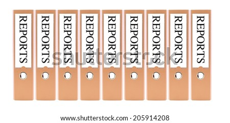 Orange color folders marked with reports on white background - stock photo