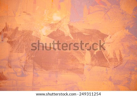 Orange color oil painting texture. Abstract background  - stock photo