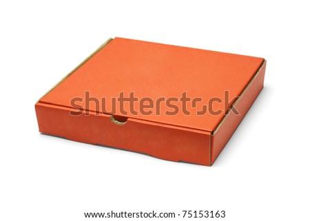 Orange color pizza takeaway box on white background - stock photo