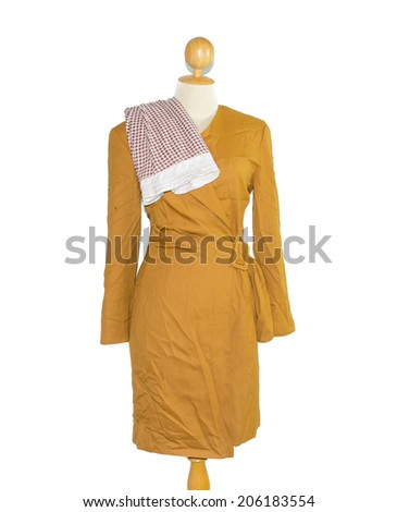 orange color tone long dress for lady with red plaid isolate on white background