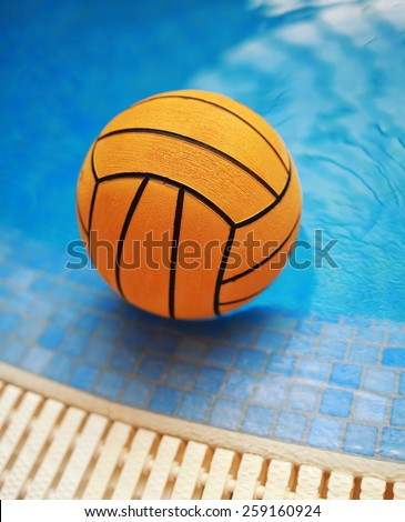 Orange color water.ball in swimming-pool - stock photo