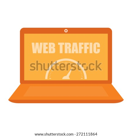 Orange Computer Laptop With Web Traffic Label, Sign or Icon Isolated on White Background - stock photo