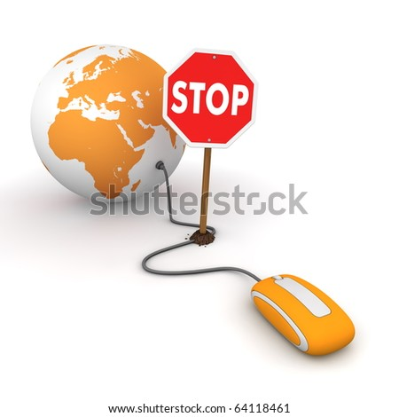 orange computer mouse is connected to a orange globe - surfing and browsing is blocked by a stop sign that cuts the cable - stock photo