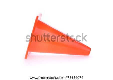 orange cone used warning sign under construction work area, isolated on white background - stock photo