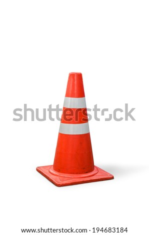 orange cones on street,old traffic cones on  white background. - stock photo