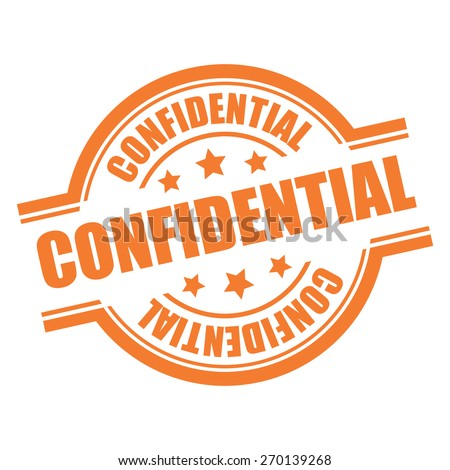 Orange Confidential Stamp, Badge, Label, Sticker or Icon Isolated on White Background - stock photo