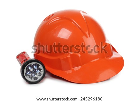 Orange construction helmet and lantern on white background - stock photo
