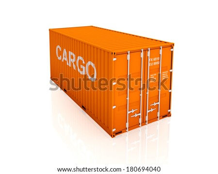 Orange container.3d rendered.isolated on white. - stock photo